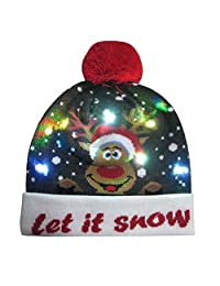 AMSKY LED Light-up Knitted Ugly Sweater Holiday Xmas Christmas Beanie