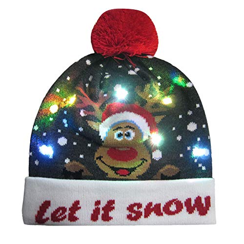 Clearance Sale LED Light-up Hat for Christmas FEDULK Knitted Ugly Sweater Holiday Xmas Beanie Cap(E, One Size)