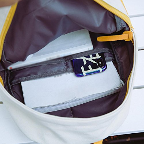 Shoulder Student Women Travel Color Backpacks Canvas Yellow Hit Fashion School Cinhent qE0gYg