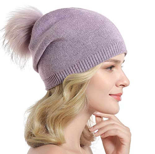 Women Knit Wool Beanie - Winter Solid Cashmere Ski Hats Real Raccoon Fur Pom Pom (Purple) ()