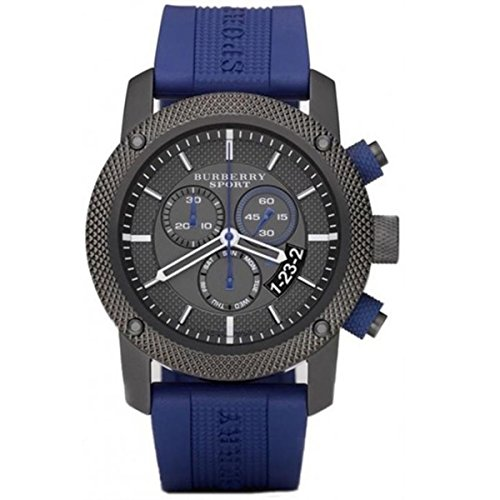 Burberry Sports SWISS LUXURY Men Unisex Women 44mm Round Stainless Steel Chronograph Watch Blue Silicon/Rubber Band Black Date Dial BU7714