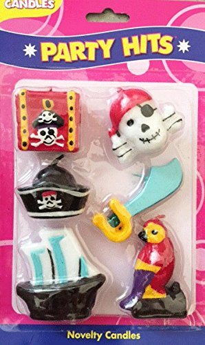 Pirate Party Birthday Cake Candles - Set of 6 (Treasure Chest Birthday Cake)