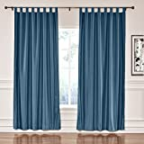 Cheap ChadMade Elegant Vintage Polyester Cotton Silk Thermal Insulated Curtain Navy 120″ W x 84″ L, Tab Top Silk Satin Drapes Window Treatment Panels with Blackout Lined (1 Panel)
