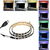 Comfkey TV Backlight Kit USB led Light Strip USB with Adhesive Tape Bright Backlights Color Changing Lighting for Flat Screen HDTV LCD, Desktop PC,Desktop Monitor, Multi-color (1 Meters)