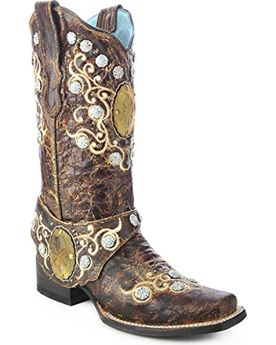 CORRAL Women's Concho Harness Cowgirl Boot Square Toe Brown 6.5 M (Square Toe Harness Boot)