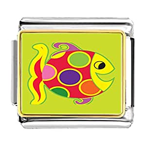 Chicforest Gold Plated Colorful Happy Fish Bracelet Link Photo Italian Charm