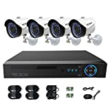 Cheap TECBOX CCTV Camera Video Security System 4 Channel AHD DVR with 4 HD 720P Outdoor Indoor Surveillance Cameras Remote View Motion Detection No Hard Drive Included