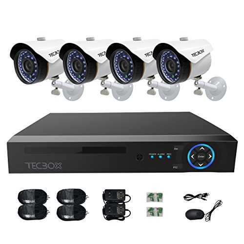 TECBOX CCTV Camera Video Security System 4 Channel AHD DVR with 4 HD 720P Outdoor Indoor Surveillance Cameras Remote View Motion Detection No Hard Drive Included