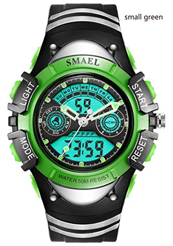 Kids Digital Watch Boys Sports Waterproof Quartz Wrist Watches with Alarm Stopwatch for Youth Childrens (small-green)