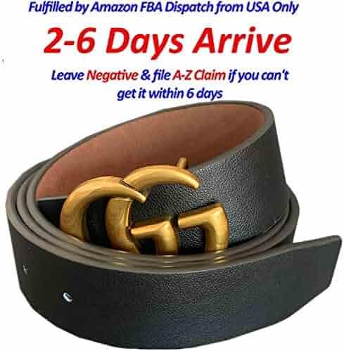 647d14d2dc9371 Fashion Buckle GG Black genuine Leather Unisex Belt for Men or Women Pants  Jeans Shorts Dresses