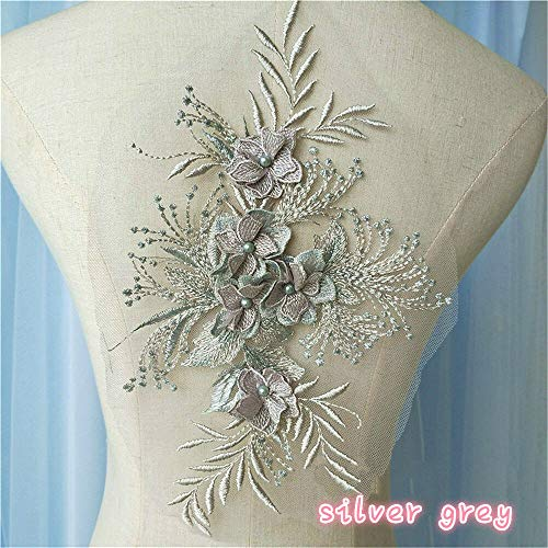(3D Embroidery Lace Applique Beaded Flower Patch Wedding Dress Cloth Decor Craft (Colour - Silver)