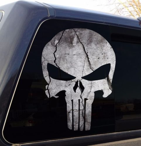 Edwin Group of Companies Punisher Skull Cracked Rock Stone Military Decal Sticker Graphic - 5 -