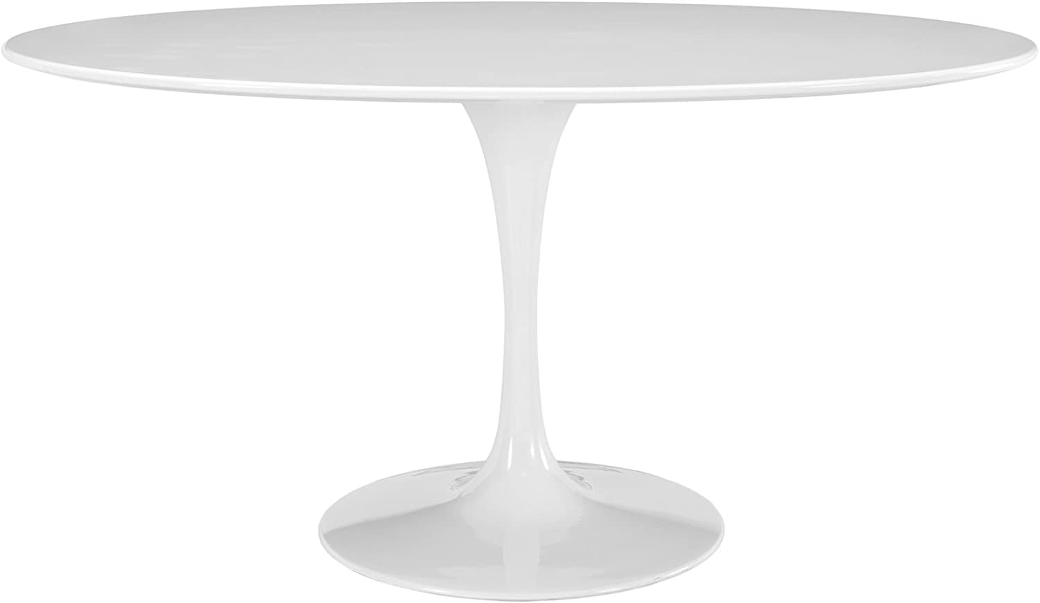 Modway Lippa 60 Mid-Century Modern Kitchen and Dining Table with Oval Top and Pedestal Base in White