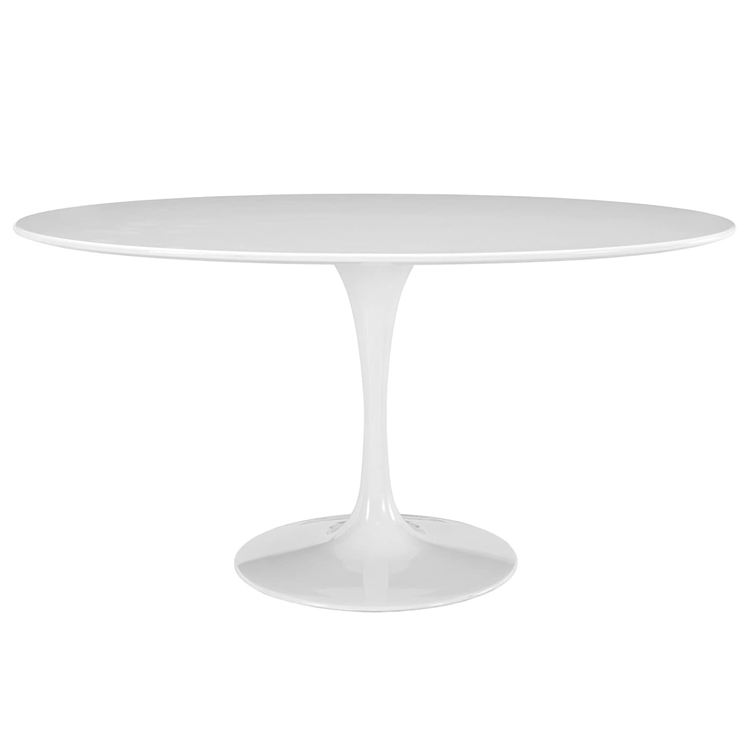 "Modway Lippa 60"" Mid-Century Modern Kitchen and Dining Table with Oval Top and Pedestal Base in White"