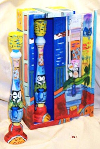 Pintado a mano caja w/corredera de madera a juego portavelas 1: Amazon.es: Instrumentos musicales