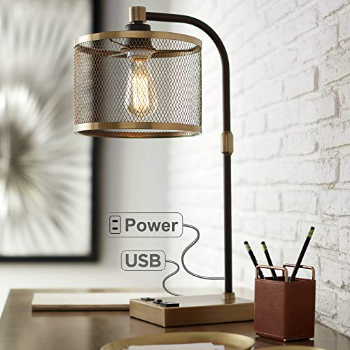 (Brody Vintage Farmhouse Industrial Desk Lamp with USB and AC Power Outlet in Base Antique Brass Bronze Perforated Metal Shade for Living Room Bedroom Bedside Office - 360 Lighting)