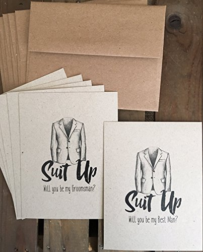 Suit Up - Set of 6 - Will you be my Groomsman - Best Man - Wedding Party Proposal - Eco -