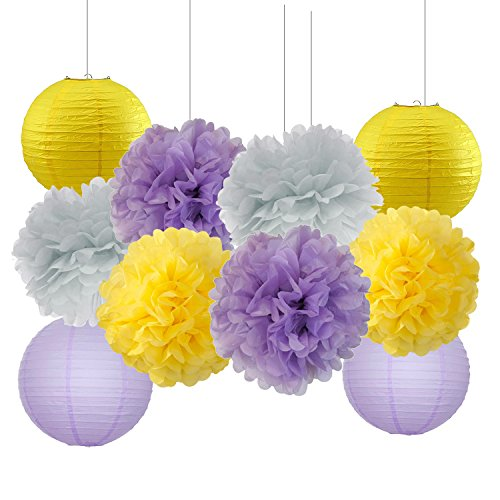 Furuix Bridal Shower Decorations 10 pcs Yellow Lavender Grey Purple 10inch Tissue Paper Pom Pom Paper Lanterns Mixed Package for Lavender Themed Party Baby Shower Decoration (Lavender Grey Yellow) ()