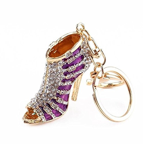 Crystal Rhinestone Diamante High Heel Shoe Decoration Chain for Phone Car Bag Key Ring keychain Charm Gift - Perfect for Women Ladies Girls' Phone Key Bag (Purple)