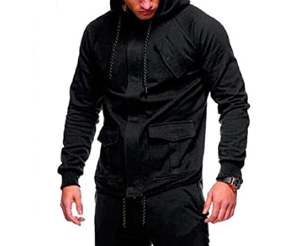 MZjJPN Men Sudaderas Hombre Hip Hop Mens Solid Hooded Zipper Hoodie Cardigan Sweatshirt Slim Fit Men