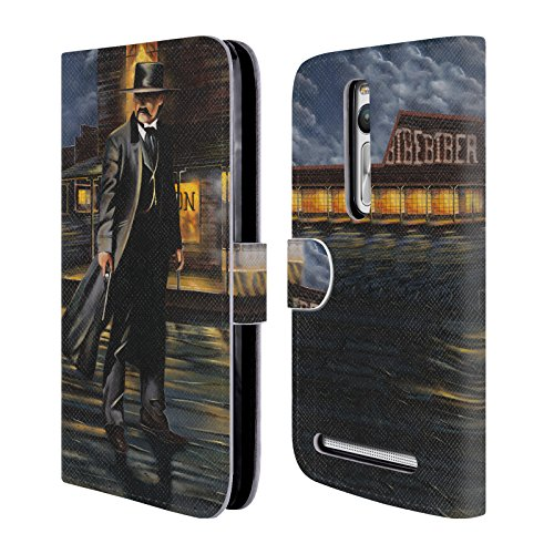 Official Geno Peoples Art Tombstone Life Leather Book Wallet Case Cover For Zenfone 2 / Deluxe