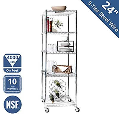 Seville Classics MEGA Rack UltraDurable Commercial-Grade 5-Tier NSF-Certified Steel Wire Shelving with Wheels