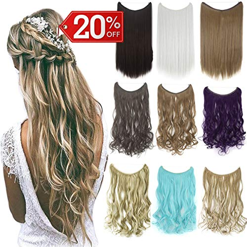 Ombre Invisible Secret Wire Miracle Hair Extensions Fish Line Headband Hairpiece Wavy Curly Synthetic Hairpiece ()