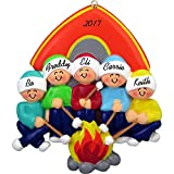 Camping Family Personalized Christmas Ornament (Family of 5) - Handpainted Resin - 4'' Tall - Free Customization by Calliope Designs