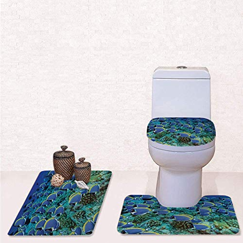 - Print 3 Pcss Bathroom Rug Set Contour Mat Toilet Seat Cover,School of Powder Blue Tang Fishes in the Coral Reef Maldives Deep Seas with Aqua Blue and Yellow,decorate bathroom,entrance door,kitchen,