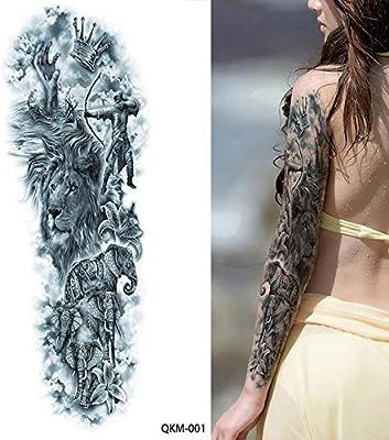 Tatuaje grande Brazo completo Diadema de león Rosa Tatuaje ...