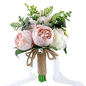 YSUCAU Wedding Bridal Bouquet, 9.8'' Wedding Bride Bouquet, Wedding Holding Bouquet with Artificial Peony and Rose Fiowers, Natural Jute Twine, Crystal for Wedding Church Party and Home Decor 63