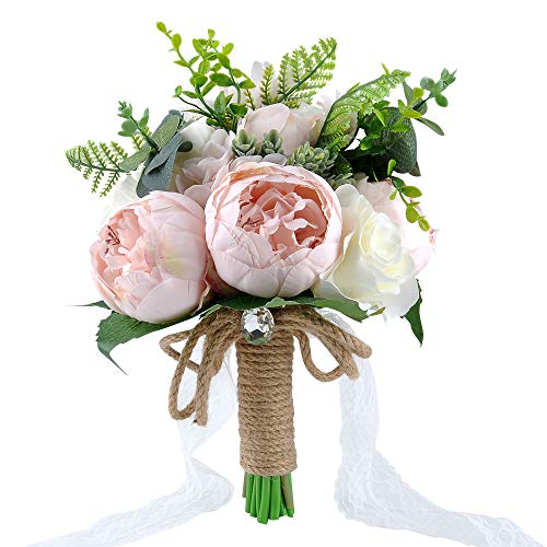 (YSUCAU Wedding Bridal Bouquet, 9.8'' Wedding Bride Bouquet, Wedding Holding Bouquet with Artificial Peony and Rose Fiowers, Natural Jute Twine, Crystal for Wedding Church Party and Home Decor)