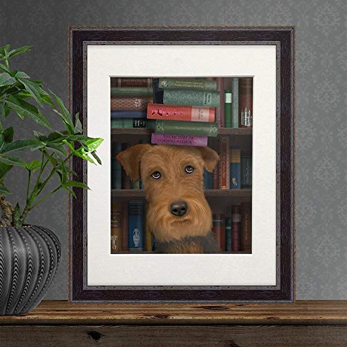 - Cazvas Airedale Picture - Airedale with Books - Airedale Terrier Airedale Decor Dog Lover Gift Dog Painting Dog Owner Gift Art Prints of Dogs No-Frame