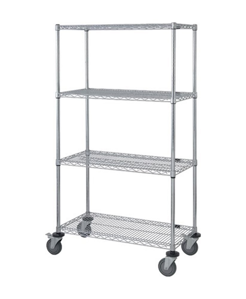 Quantum Storage Systems M2448C46 4-Tier Wire Shelving Mobile Cart ...