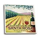 Santa Rosa, California - Sonoma County Wine Country (Set of 4 Ceramic Coasters - Cork-backed, Absorbent)