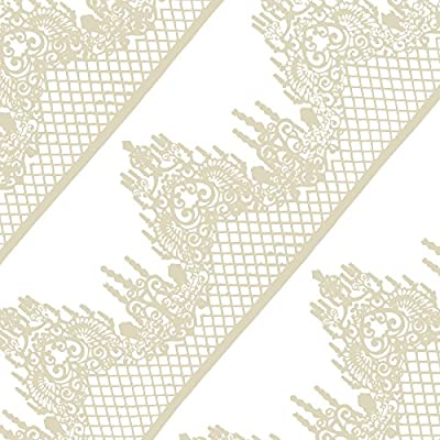 Funshowcase Large Pre-Made Ready to Use Edible Cake Lace Lattice Diamond Scallop 14-inch 10-piece Set Ivory White: Kitchen & Dining