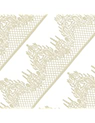 FUNSHOWCASE Large Pre-Made Ready to Use Edible Cake Lace Lattice Diamond Scallop 14-inch 10-piece Set Ivory White