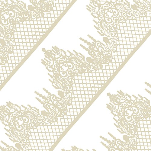 FUNSHOWCASE Large Pre-Made Ready to Use Edible Cake Lace Lattice Diamond Scallop 14-inch 10-piece Set Ivory (Sugar Lace)