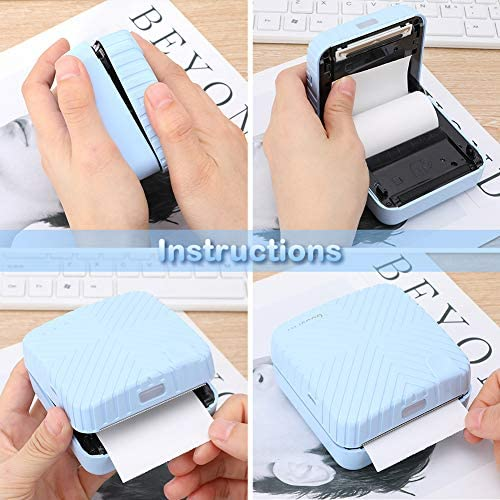 Mini Imprimantes Portable Imprimante Thermique Bluetooth sans Fil et Connexion USB avec du Papier Thermique pour Android et iOS pour Impression Immédiate, Photos de Style Rétro, Bon Cadeau