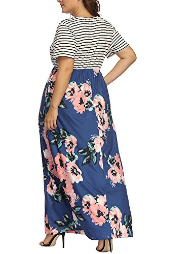 Women's Print Allegrace Blue Floral Long Dresses Patchwork Plus Striped Maxi Dress Size Sleeve Short qICdxZrwC