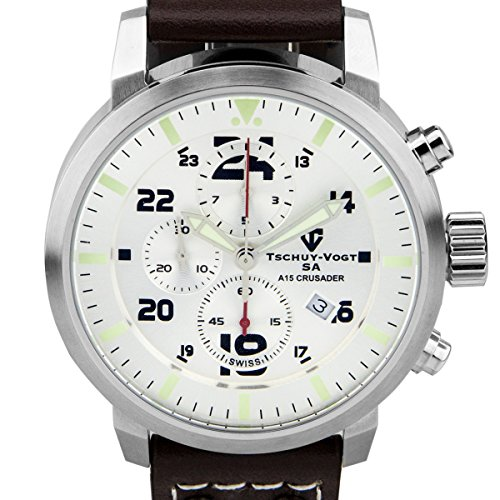 Tschuy-Vogt SA A15 Crusader Mens Swiss Chronograph Watch - Brown Genuine Leather Strap, Silver Dial, Silver Case
