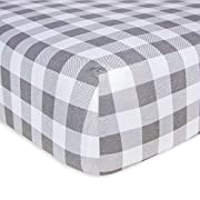 Burt's Bees Baby - Fitted Crib Sheet, Boys & Unisex 100% Organic Cotton Crib Sheet for Standard Crib and Toddler Mattresses (Grey Buffalo Check Pattern)