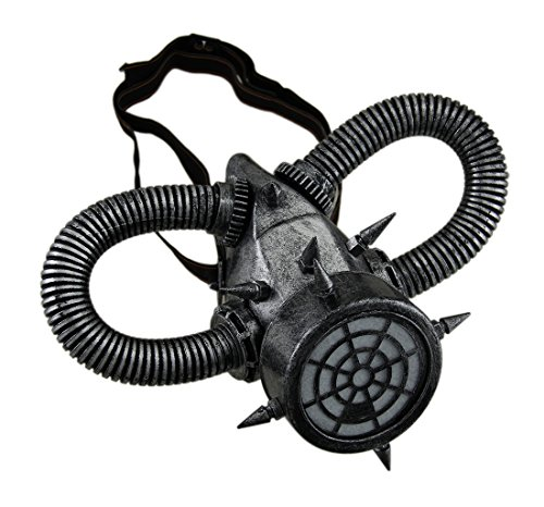 Cool Steampunk Costumes (Metallic Finish Spiked Steampunk Respirator Mask with Corrugated Tubing)