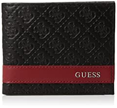 The repeating logo design with contrasting red stripe make this leather wallet from Guess a bold choice.