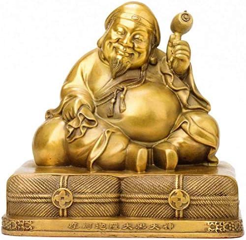 真鍮の微笑み仏の彫刻、大きな黒い神-仏像、宗教像の小像、オフィスと家庭のための知恵と富の象徴