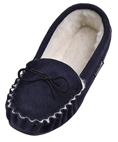 Lambland pour femme/homme Gamme de véritable laine d'agneau et Mocassins en daim avec semelle en PVC - bleu - bleu marine, 39 1/3 EU