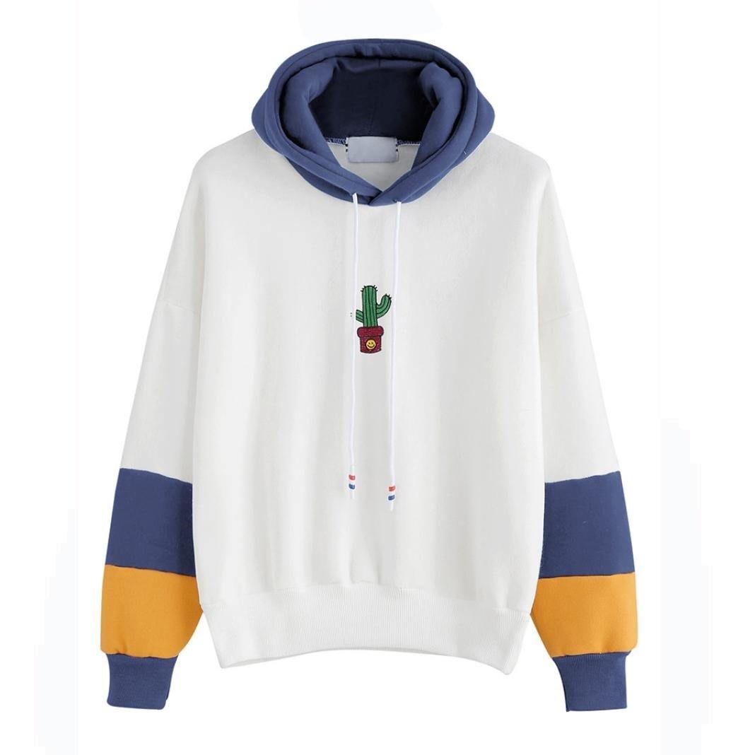 Hoodie Sweatshirt Damen Sunday Kaktus Langarm Freizeit Eifach Kapuzenpullover Bluse