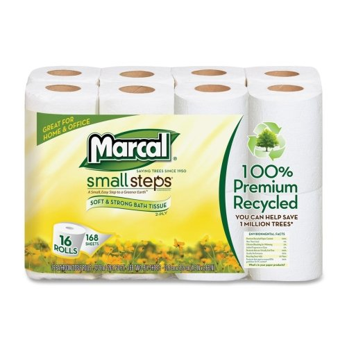 Marcal Small Steps Recycled Premium Bath Tissue - 2 Ply - 168 Sheets/Roll - 16 / Pack - 4.20