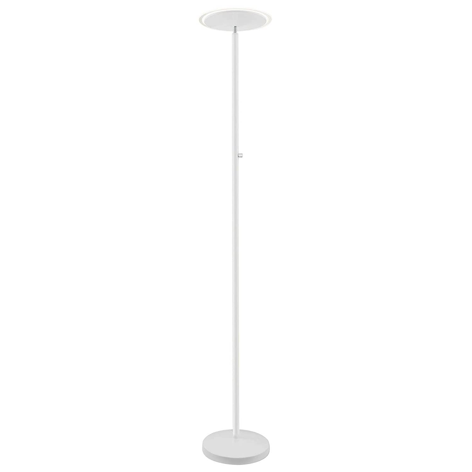 """Kira Home Horizon 70"""" Modern LED Torchiere Floor Lamp (36W, 300W eq.), Glass Diffuser, Dimmable, Timer and Wall Switch Compatible, Adjustable Head, 3000k Warm White Light, White Finish"""