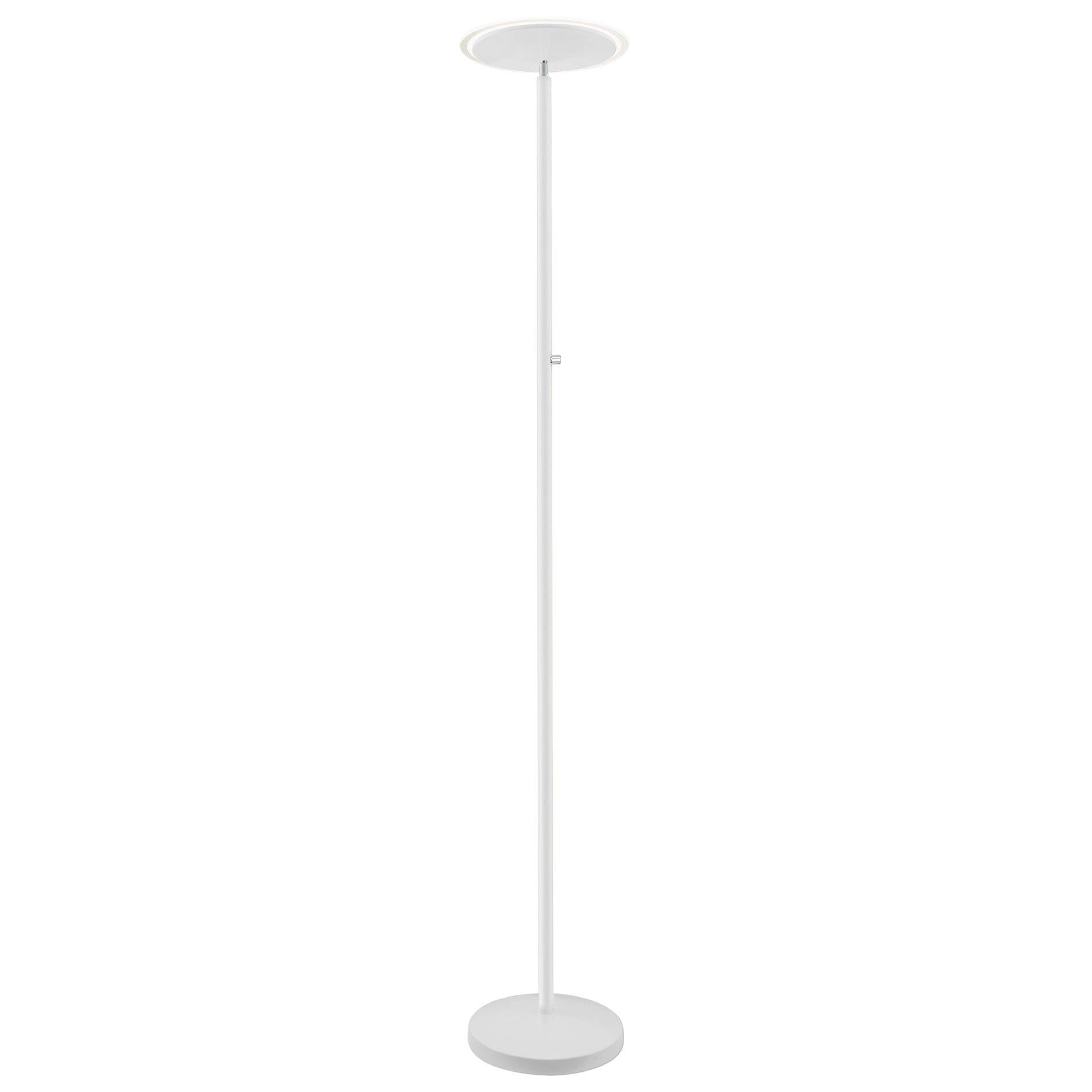 Kira Home Horizon 70'' Modern LED Torchiere Floor Lamp (36W, 300W eq.), Glass Diffuser, Dimmable, Timer and Wall Switch Compatible, Adjustable Head, 3000k Warm White Light, White Finish